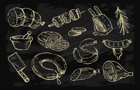 beef meat: vector hand drawn meat elements set on black