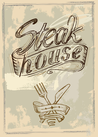 vector hand drawn steak house menu poster Vector