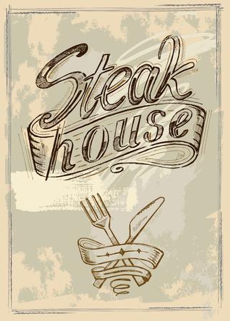 raw pork: vector hand drawn steak house menu poster Illustration