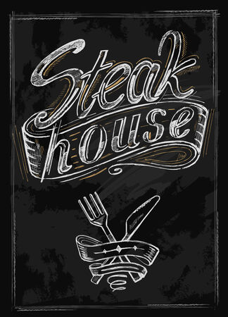 vector hand drawn steak house menu on black Illustration