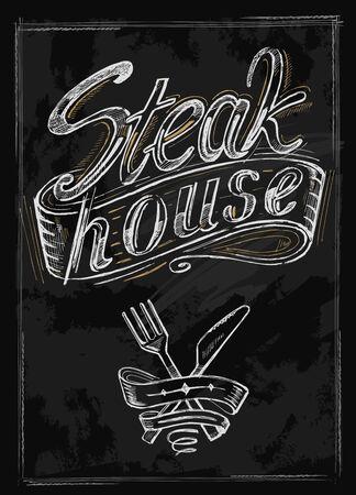 vector hand drawn steak house menu on black Vector