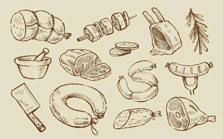 carnicero: elementos de la carne y los embutidos elaborados mano vector conjunto