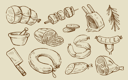 fresh meat: vector hand drawn meat and sausage elements set