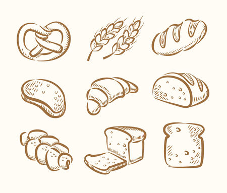 vector hand drawn bread icons set on beige photo