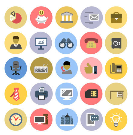 finance director: vector color office icons set on white