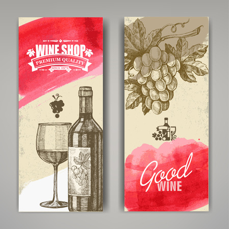 hand drawn of wine banners Vector