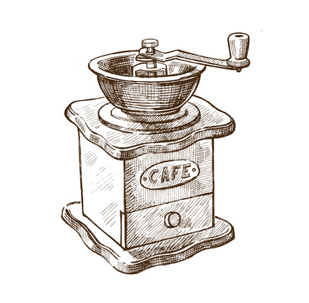 vector brown hand drawn picture of coffee grinder