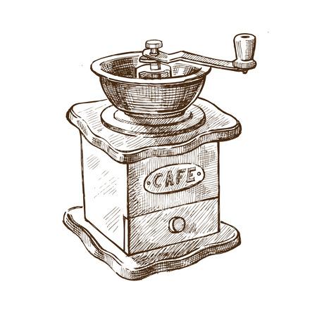 Vektor braun Hand gezeichnete Bild der Kaffeemühle