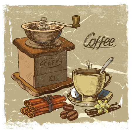 latte art: vector color hand drawn picture of coffee theme