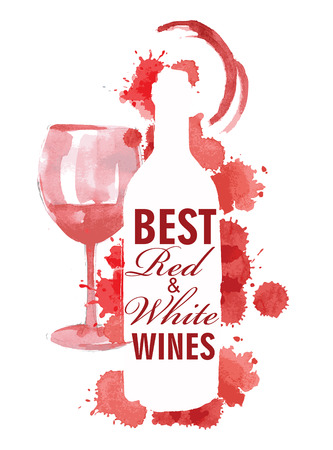 wine colour: vector vintage hand drawn illustration of wine Illustration