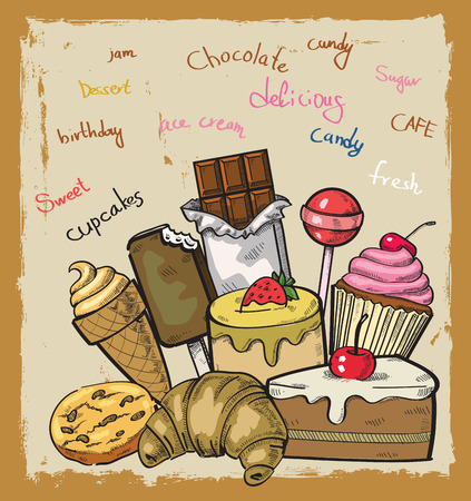 vector hand drawn picture of sweet seamless Vector