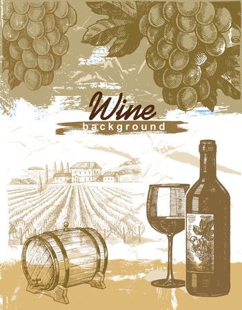 hand drawn wine
