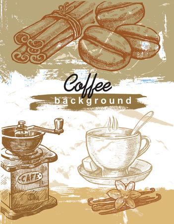 latte art: hand drawn coffee Illustration