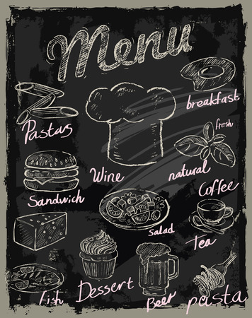 chalk board: vector chalk menu