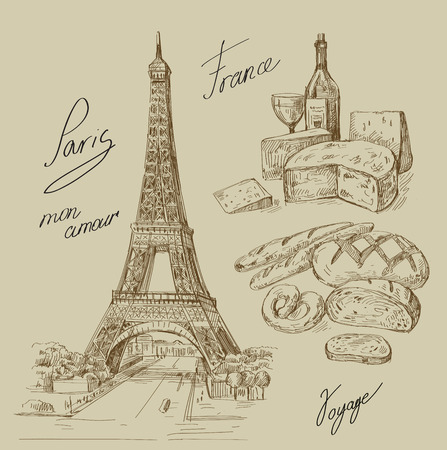 lapices: dibujados a mano de Paris Vectores