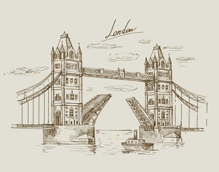 手描きタワー ブリッジ  イラスト・ベクター素材