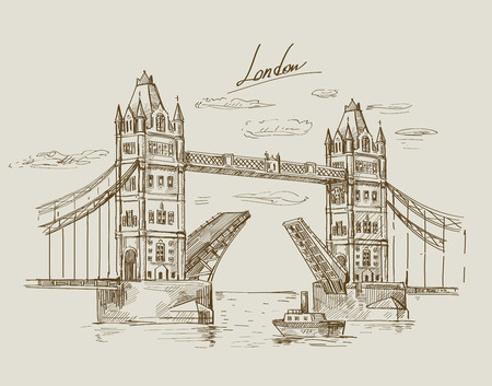 Dibujado a mano Tower Bridge Foto de archivo - 32764802