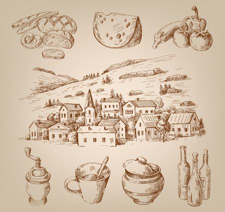 tomate de arbol: pueblo dibujado a mano Vectores