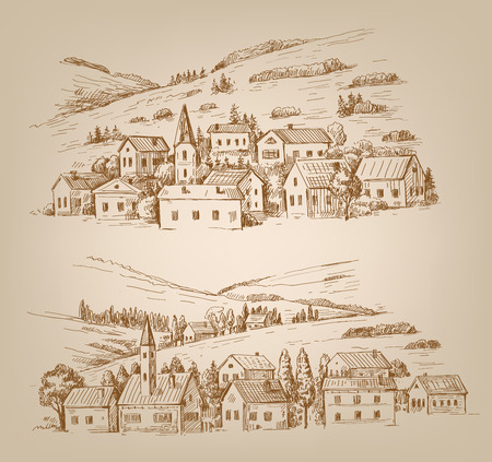 hand drawn village Vector
