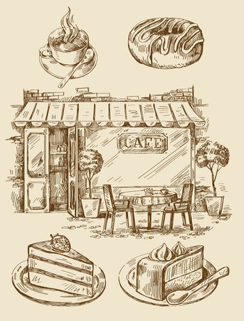 cup cakes: hand drawn cafe
