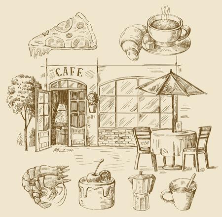 hand drawn cafe