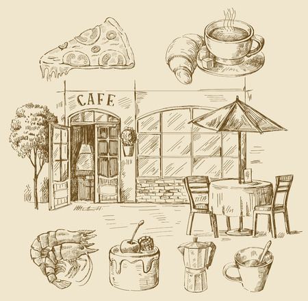 draws: hand drawn cafe