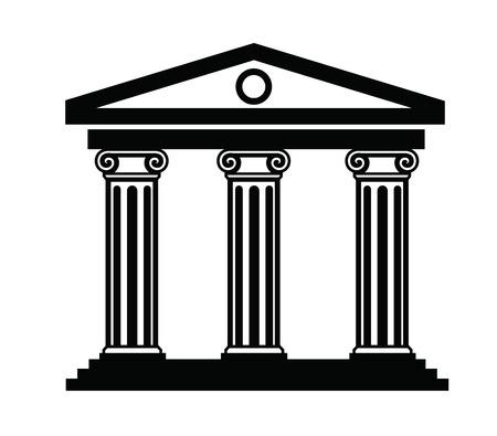 templo griego: ilustración vectorial negro del icono de la columna en blanco