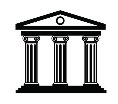 the romans: vector black illustration of column icon on white