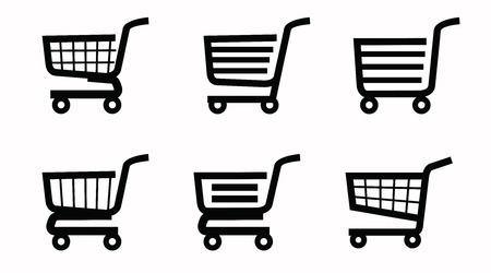 oncept: vector black illustration of shopping cart icon on white Illustration