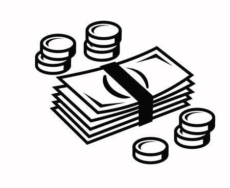 dime: vector black illustration of money icon on white Illustration