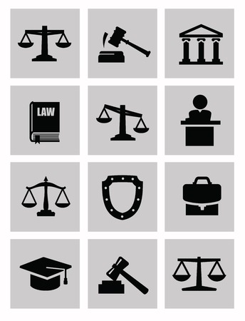 acquit: vector black illustration of justice icon on white