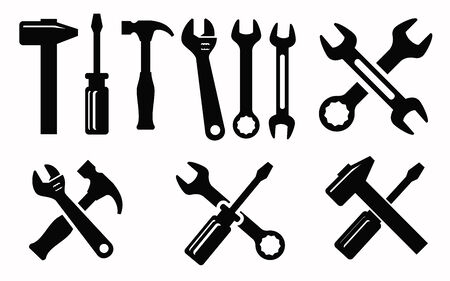 spanner: vector black illustration of repair icon on white Illustration