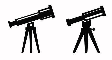 vector black illustration of telescope icon on white