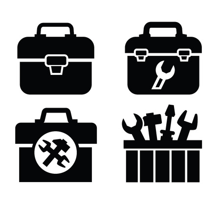 toolbox with tools 向量圖像