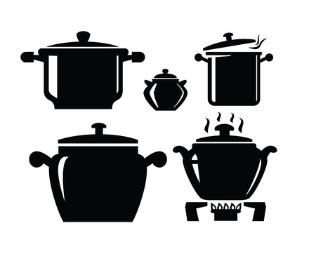 soup pot: Cooking pan icon Illustration