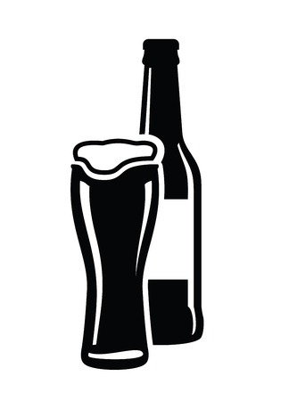 lager beer: Bottle and glass