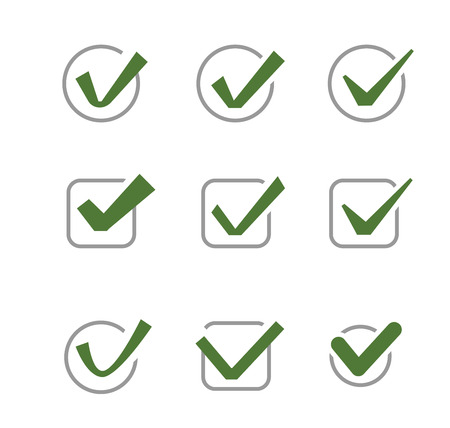 confirm: vector green illustration of confirm icon on white Illustration