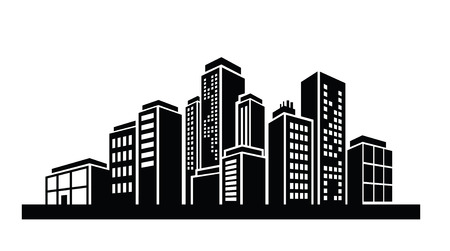 vector black illustration of Building icon on white Vector
