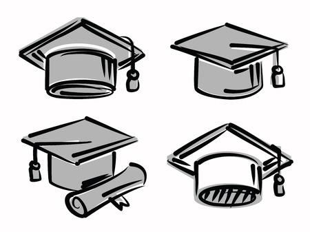 graduation cap and diploma: graduation caps