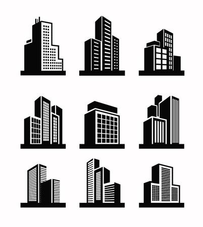 edificio: Edificios icono Vectores