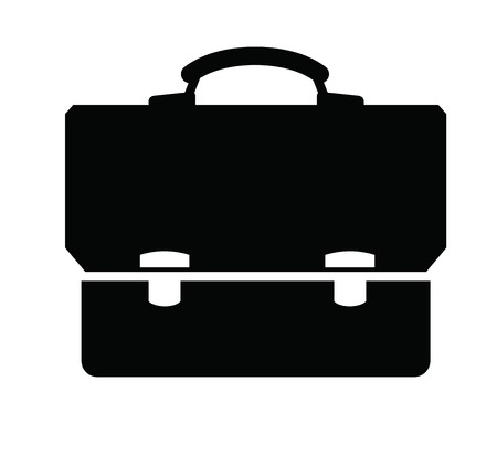 suit case: vector black Briefcase icon set on white Illustration
