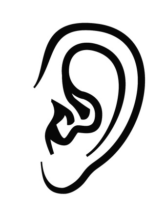Vektor schwarze Ohr-Symbol auf weißem Hintergrund Illustration