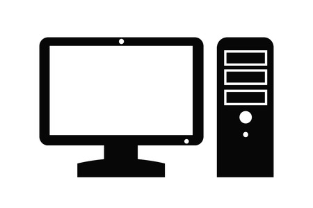 desktop computers: vector black Computer icon on white background