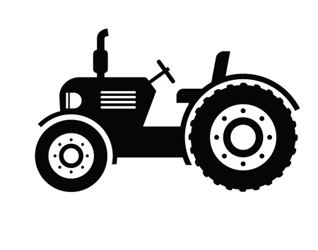 tractor in field: Tractor icon Illustration