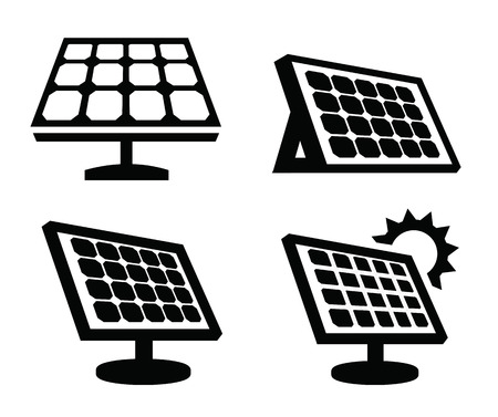 solar panel house: solar panel icon Illustration