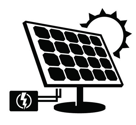 energia solar: icono de panel solar  Vectores
