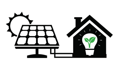 solar symbol: solar panel icon Illustration