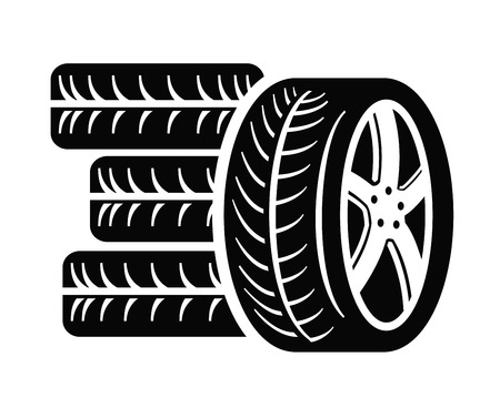 automobile tire: tyre icon Illustration