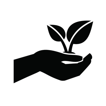 hands holding plant: Growth icon Illustration