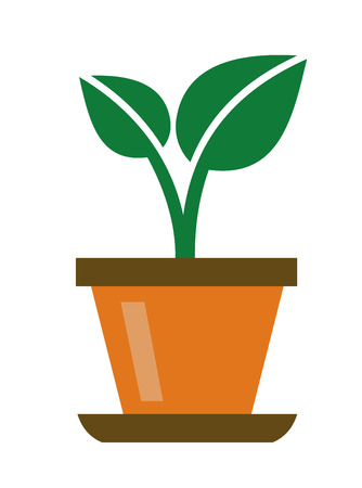 potting soil: vector green organic plant icon on white background